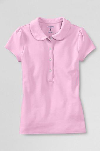 Lands End Girls Short Sleeve Ruffled Peter Pan Collar Knit Shirt