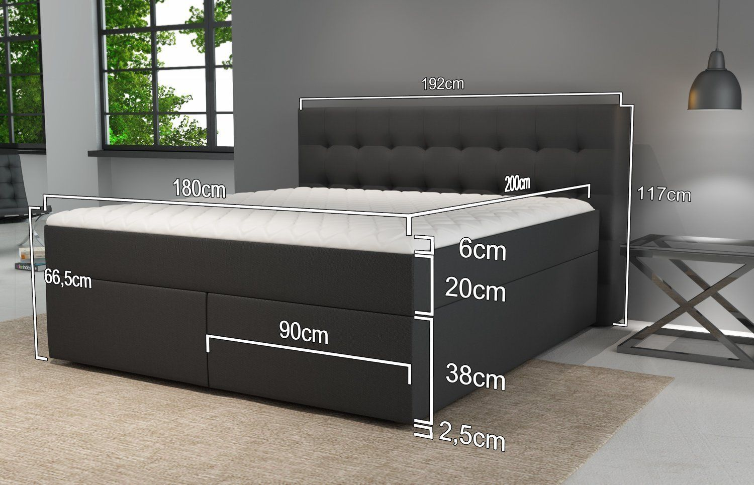 Jumbo Envelope Box Spring Beds Size King With Luxury Pocket Sprung Mattresses And Visco Topper Various Stitched Head Parts To Choose From Amaz Haus Boxsp