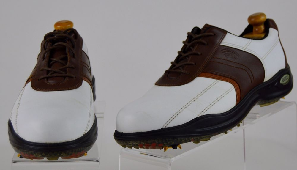 Ecco Mens 44 Brown White Leather Classic Hydromax Golf Shoes US 10-10.5 Used