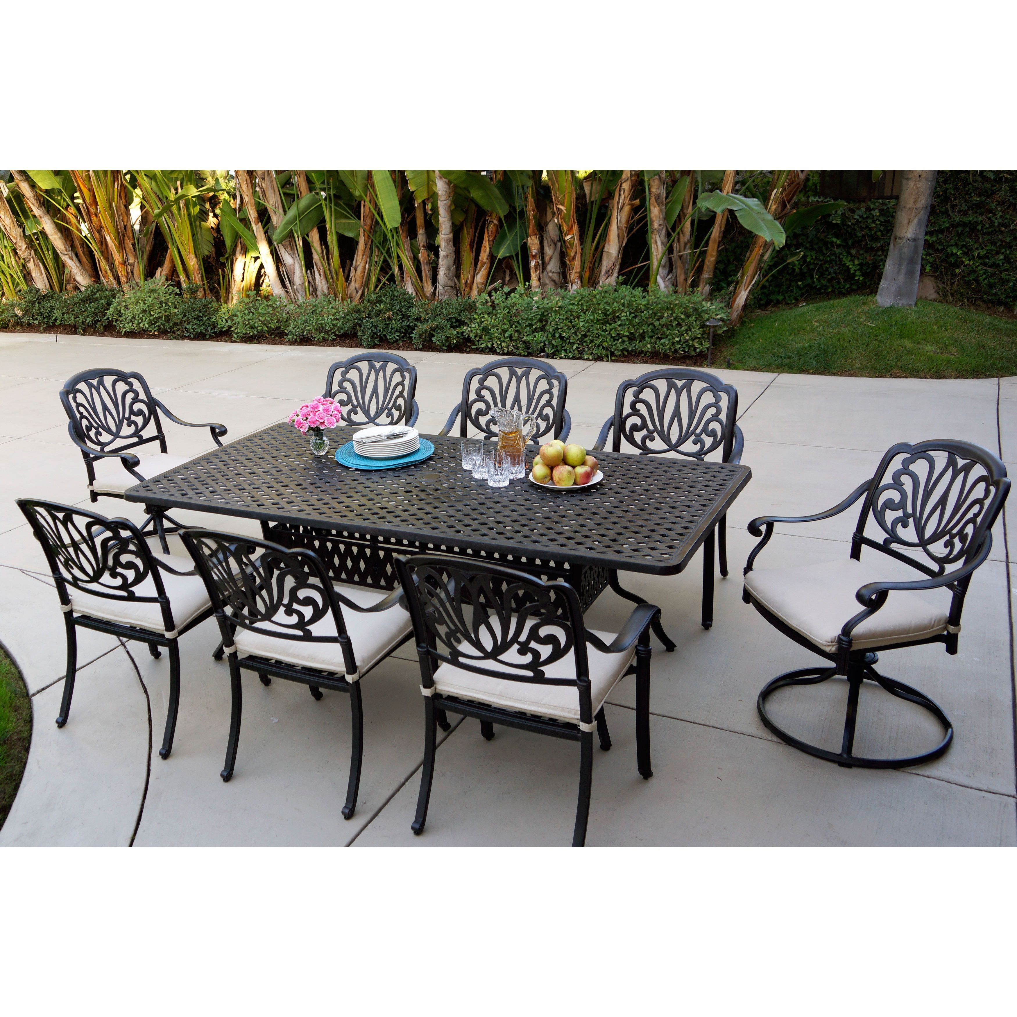 Sicily Antique Bronze 9 Piece Outdoor Dining Set with Seat