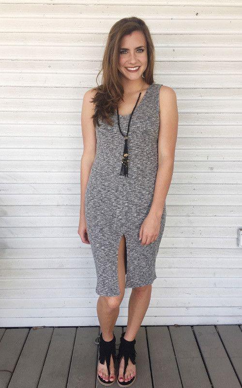 Work appropriate grey midi dress