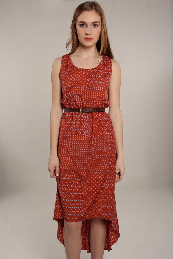Modage Belted High Low Print Dress @ Libby Story