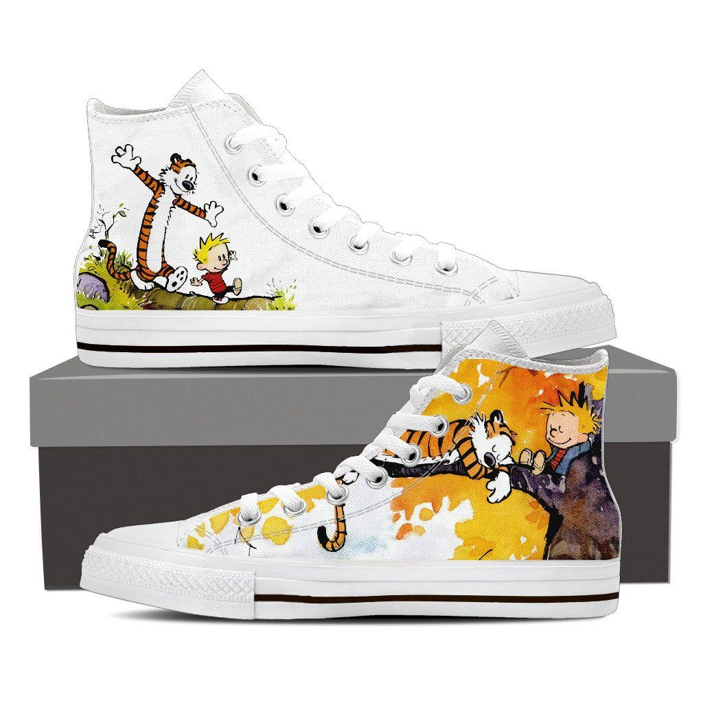Nice Calvin And Hobbes Custom Canvas Sneaker Shoes Canvas Shoes Women Customized Canvas Shoes Canvas Shoes