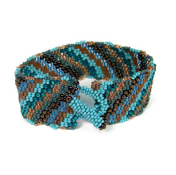 Beaded Freeform Cuff Turquoise Copper Striped by playnwithbeads, $36.00