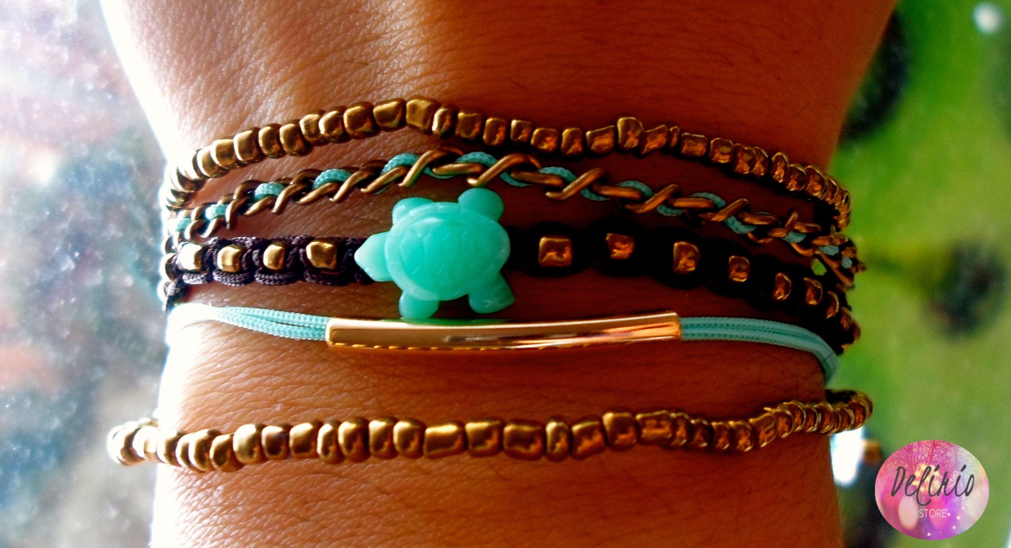 Set of Bracelet Brown-Light Blue & Turtle