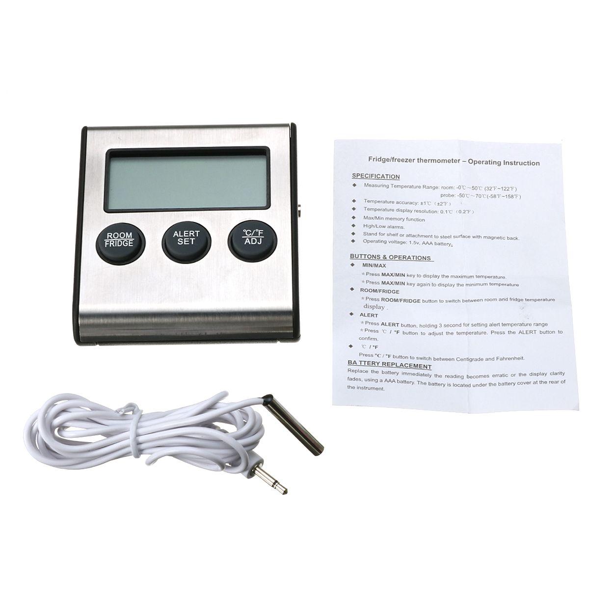 LCD Refrigerador Termómetro Temperatura 0 ~ 50C / 32 ~ 122F con la punta de prueba -50 ~ 70C / -58 ~ 158F
