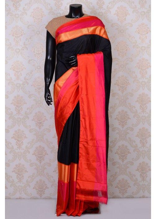2431fccdb2 Black classy kanchipuram silk saree with orange & pink border-SR16869