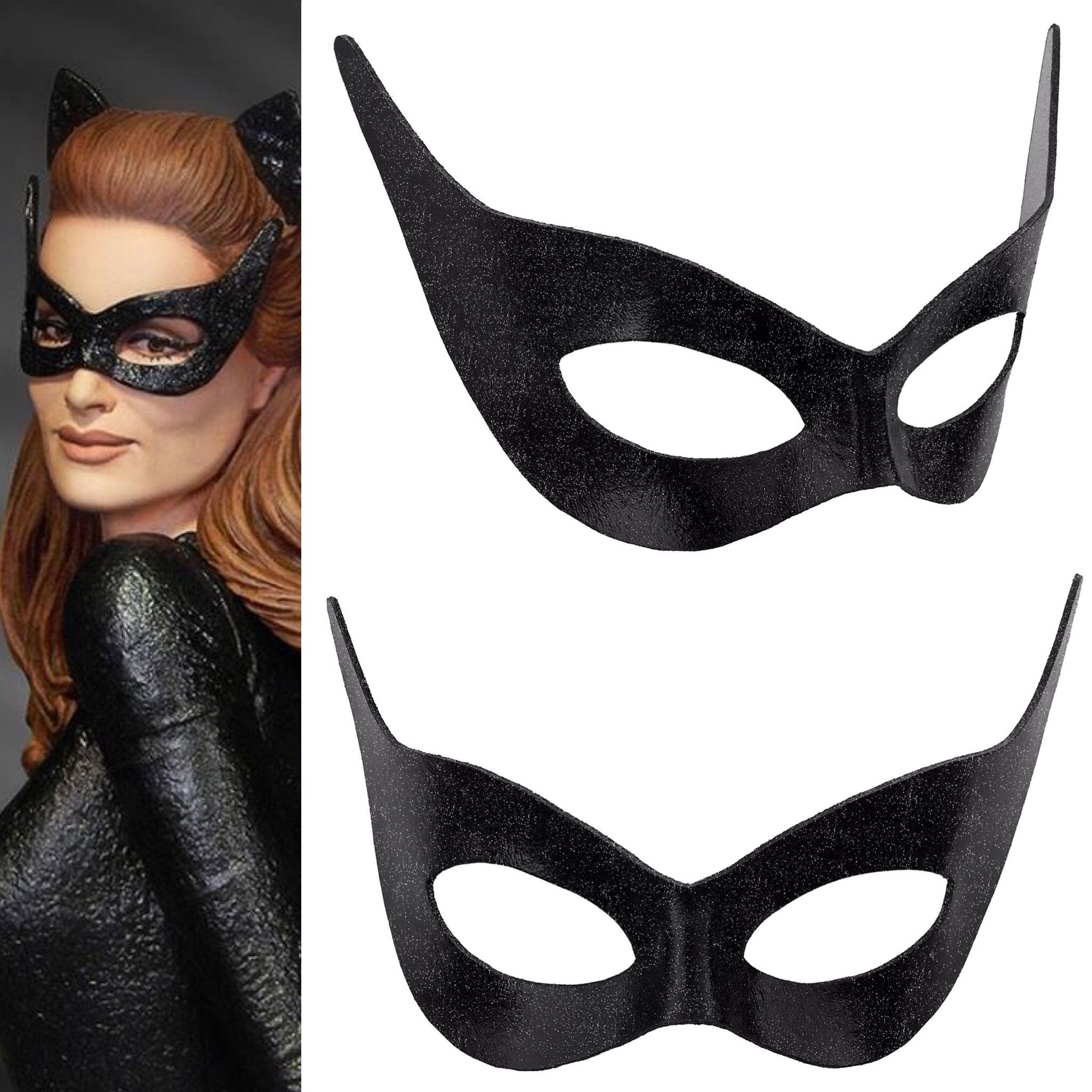 1966 Classic Catwoman Glitter Leather mask | Catwoman mask ...