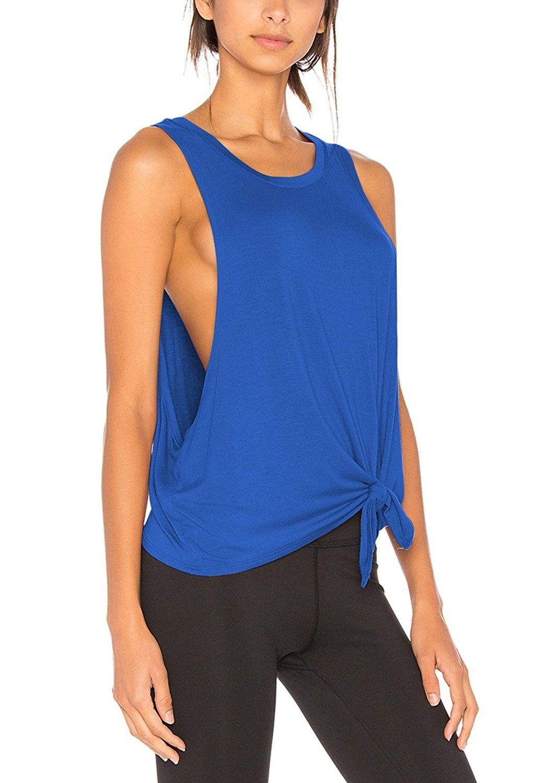 0eb9a7ffe715f Women s Sexy Yoga Shirt Sleeveless Cut Out Back Workout Sport Tank ...