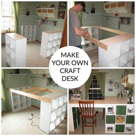 Craft Room Desk Diy Easy Project Video Instructions In 2020 Craft Room Desk Small Craft Rooms Diy Wood Desk