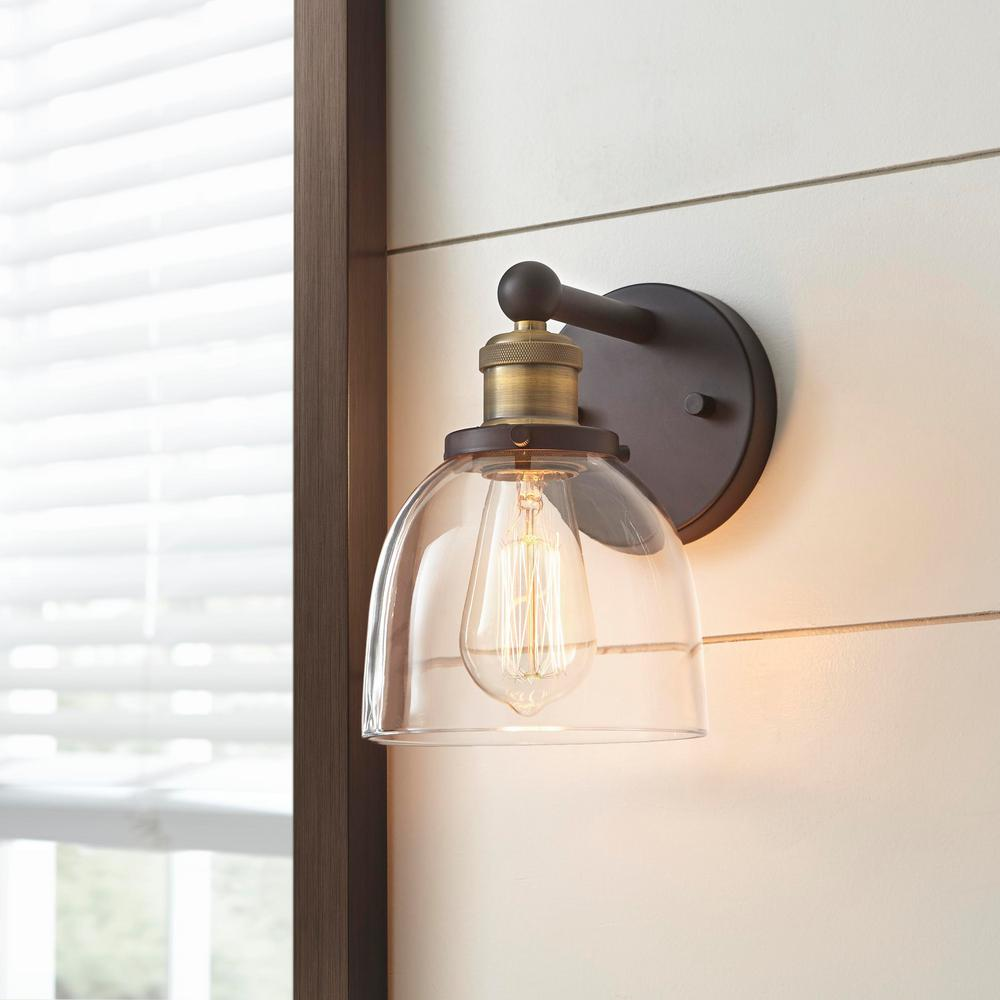 Home Decorators Collection Evelyn 1 Light Artisan Bronze Wall Sconce Hb15018 313 The Home Depot Bronze Wall Sconce Farmhouse Wall Sconces Bathroom Sconces