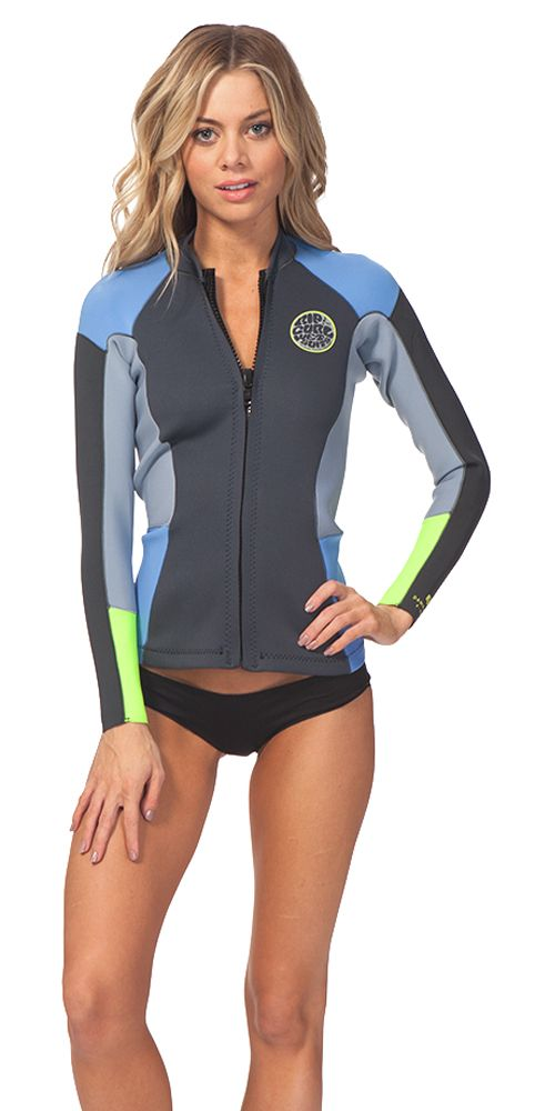 1.5mm Women s Rip Curl DAWN PATROL Front Zip Wetsuit Jacket  9e6b9e479