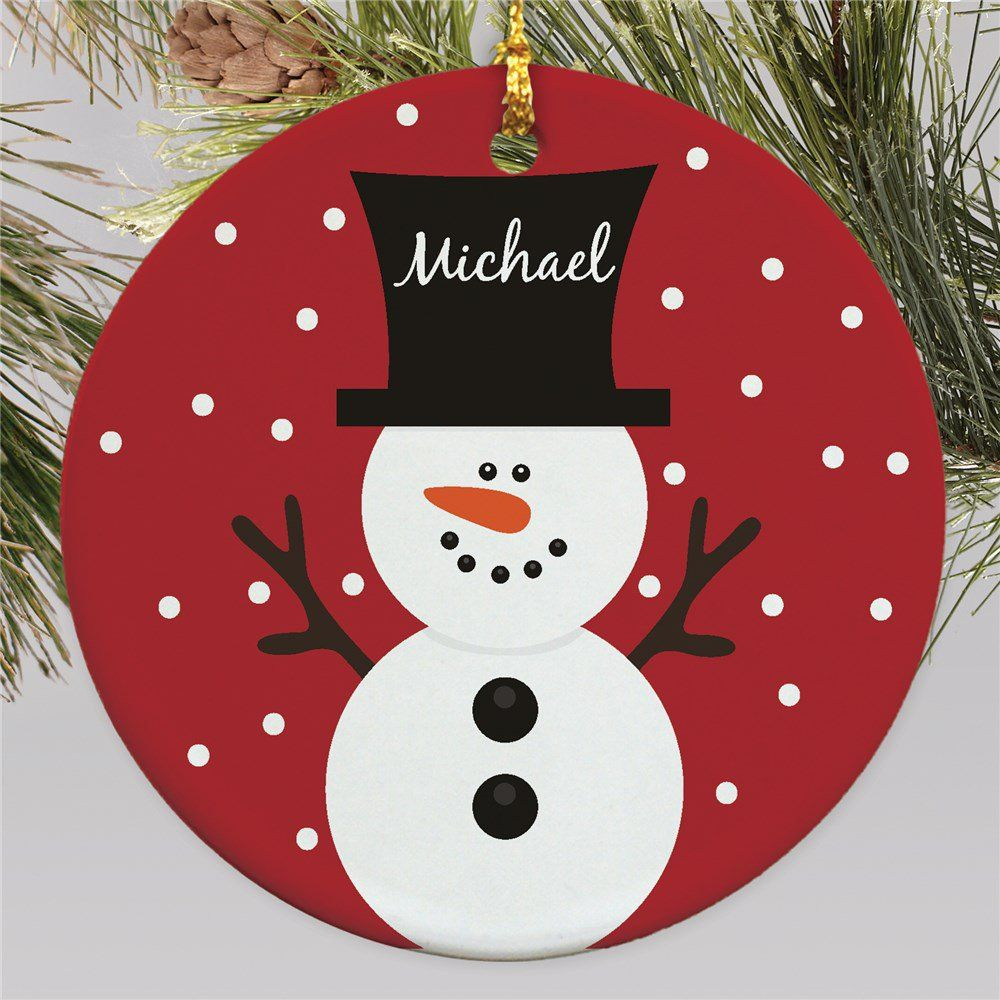 Snowman Personalized Christmas Ornament Kids Christmas Ornaments Christmas Crafts Christmas Card Crafts