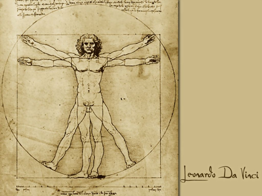 Leonardo Da Vinci Vitruvian Man Ink On Canvas The Vitruvian Man