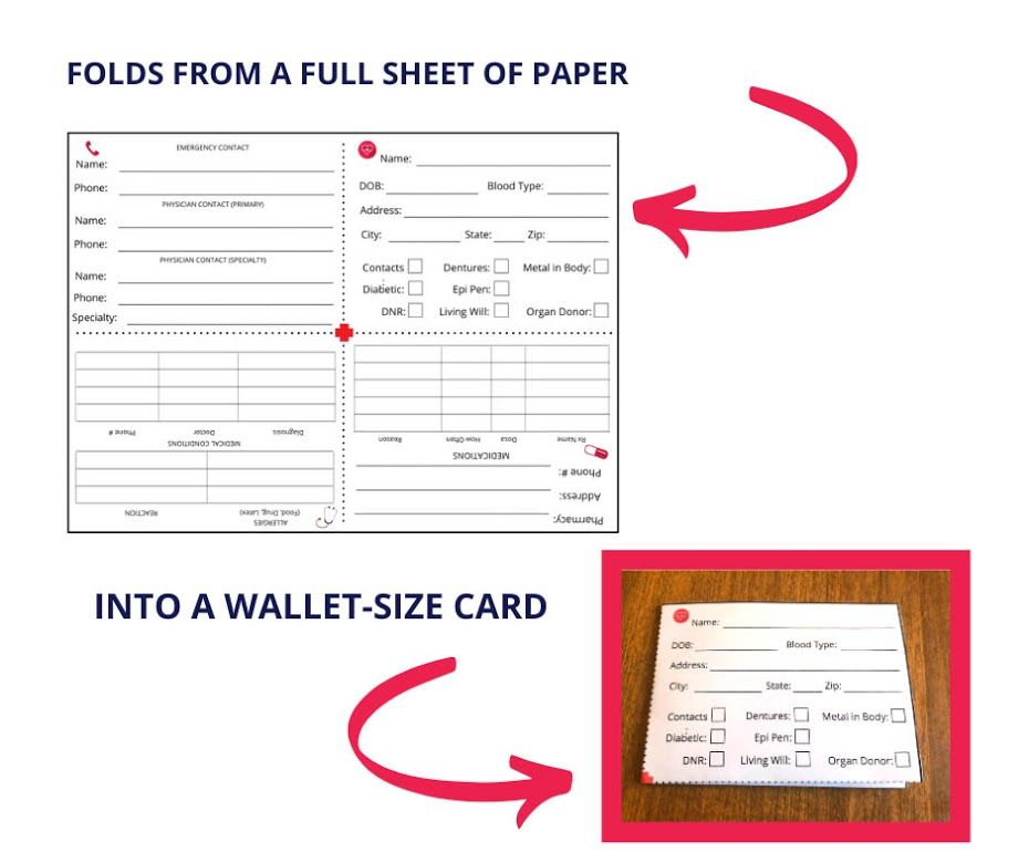 Free emergency medical information card printable in 2020
