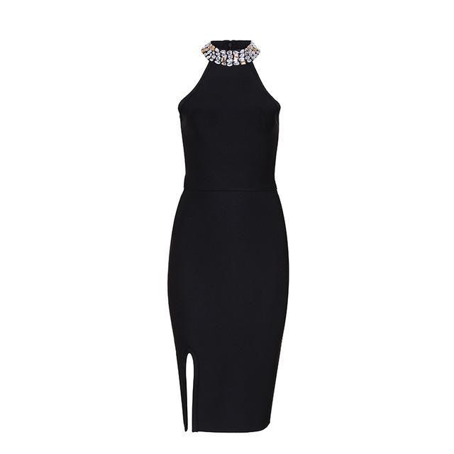 19ebace3b775 2018 New Fashion Women's Luxury Celebrity Bandage Dress Evening Party  Dresses Sleeveless Split Halter Diamonds Black Dress Vestidos