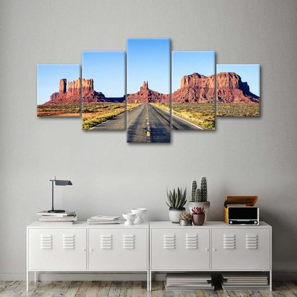 Road To Monument Valley Multi Panel Canvas Wall Art Multi Panel Canvas Canvas Wall Art Wall Art