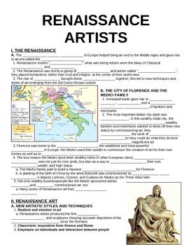 World Unit 6 Lesson 2 Renaissance Artists Guided Notes Artists Guide Renaissance Artists Guided Notes