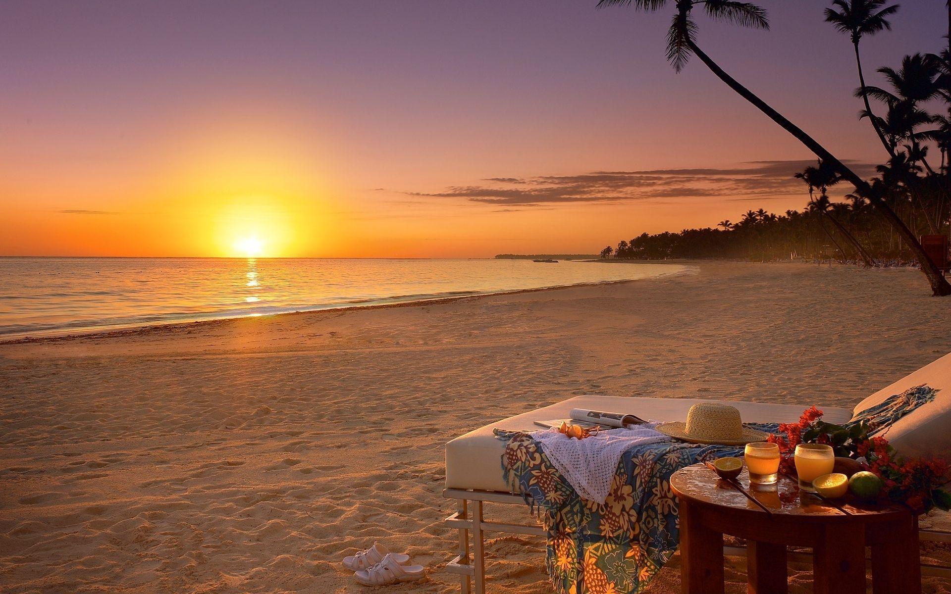 Beach Ocean Sunset Shore Coast Sky Wallpaper