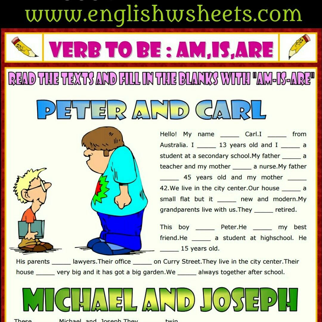 Verb To Be Esl Printable Gap Fill Exercise Worksheet For Kids Verbtobe Verbs Tobe Esl