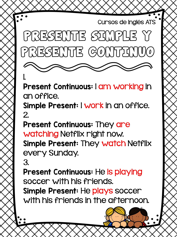 Diferencia Entre Presente Simple Y Presente Continuo Cursos De Inglés Ats Presente Simple En Ingles Presente Simple Ejercicios De Ingles
