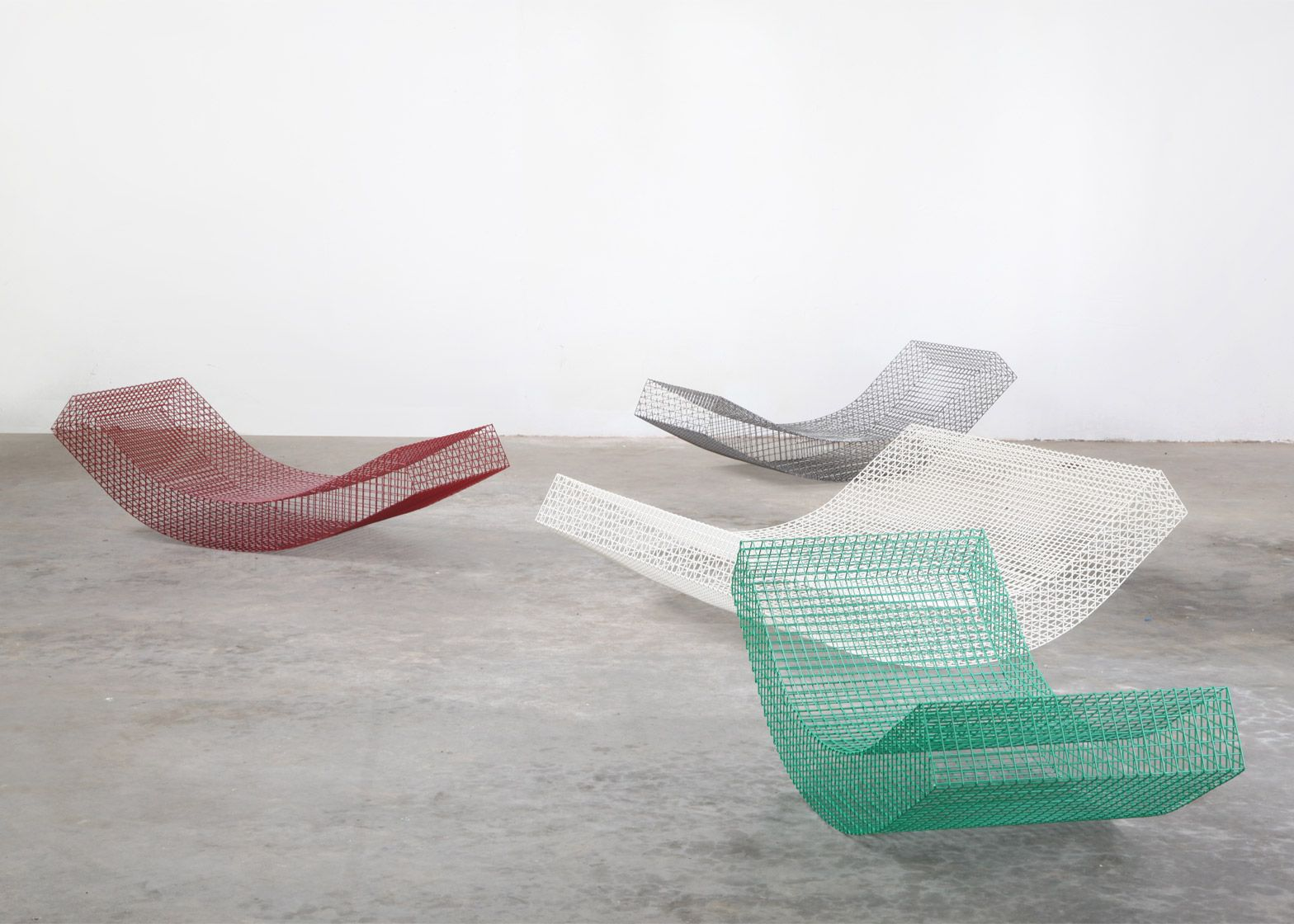 Belgian Design Studio Muller Van Severen Has Crafted Curving Loungers From Wire Netting As Part Of A Furniture Comm Daybed Design Outdoor Loungers Wire Seating