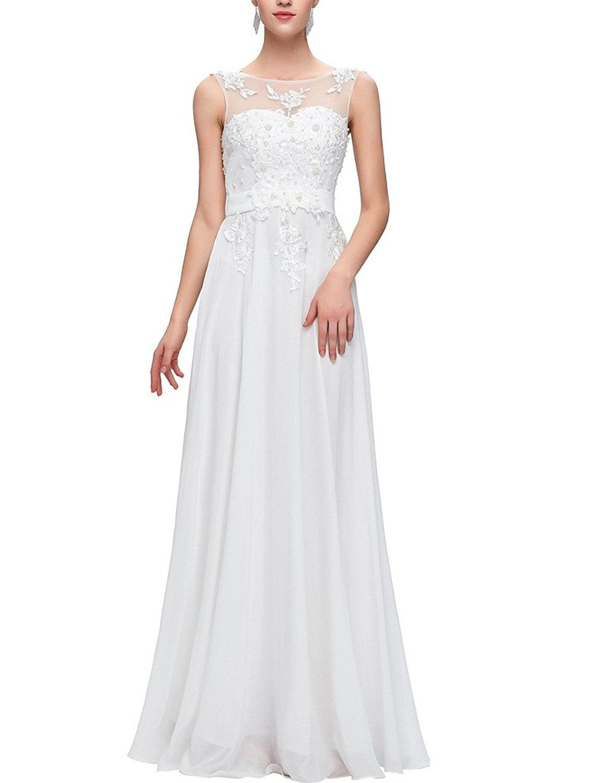 Dress for wedding party female  Happyus Womenus Chiffon Lace Sleeveless Court Train Wedding Bridal