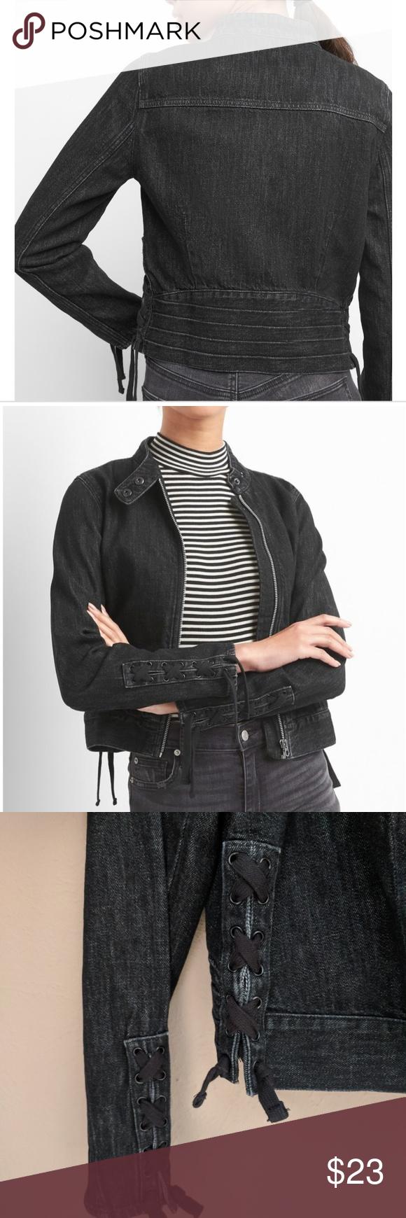 Nwt Black Denim Moto Jacket Black Denim Jackets Moto Jacket