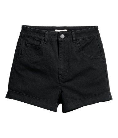 1cf5f8640255 High-waisted twill shorts | Black | Ladies | H&M AU | Dream closet ...