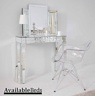 Mirrored furniture console dressing table transparent
