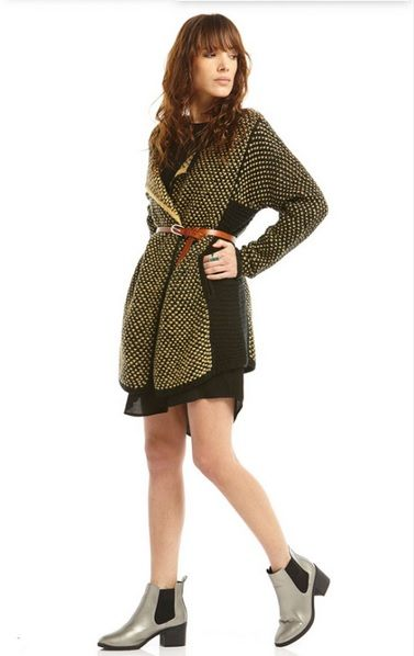 Black little dress+taupe Chelsea ankle boots+black and mustard wrap cardigan+brown belt. Fall Casual Outfit 2016