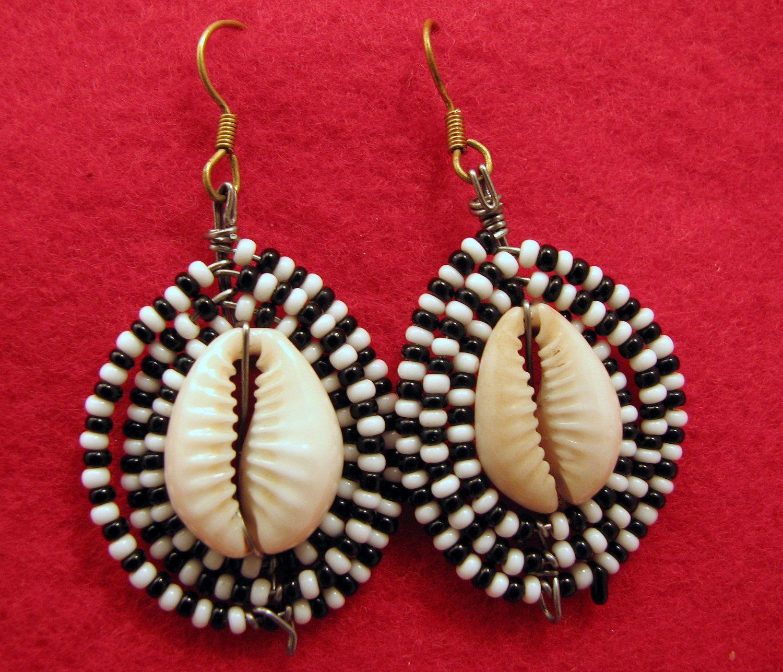 White Bead Cowrie Shell  Earrings