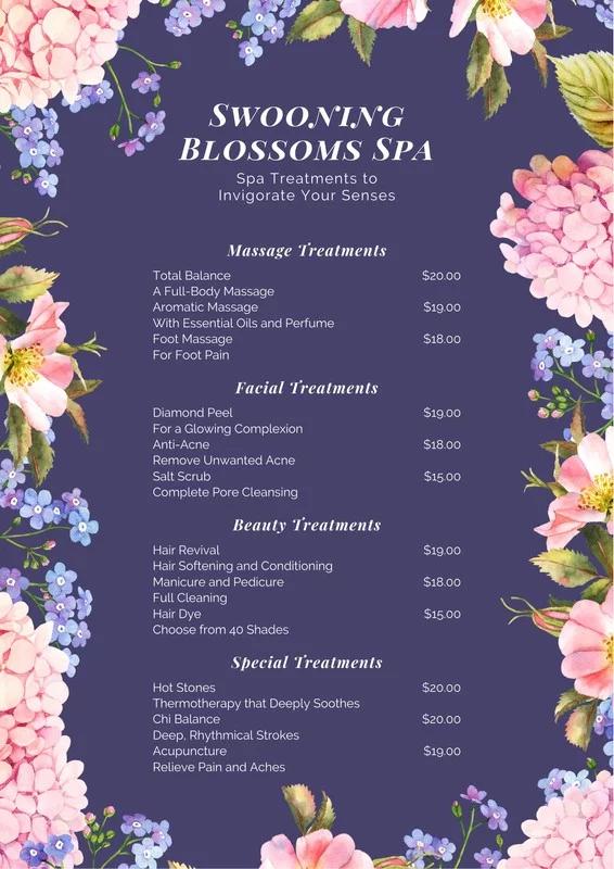 watercolor floral border spa menu  in 2020  spa menu