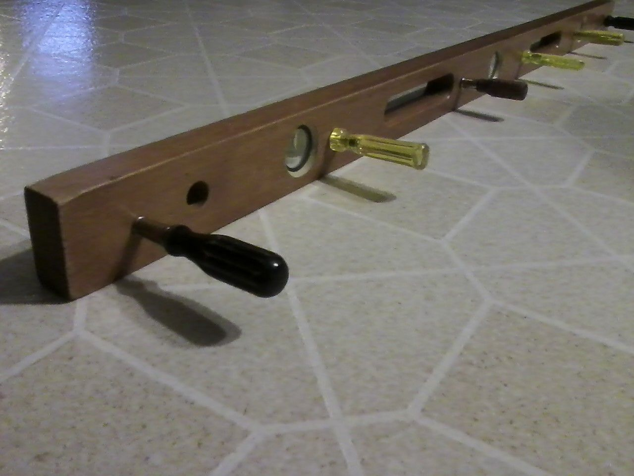 4 Old Wooden Level With Vintage Screwdrivers To Create A Great Coat