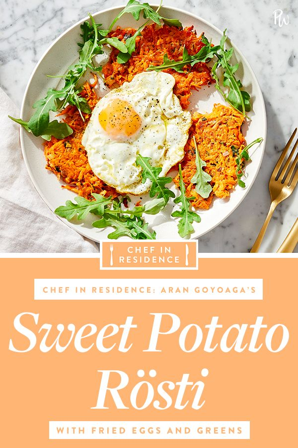 Sweet Potato Rösti with Fried Eggs and Greens #purewow #food #breakfast #vegetarian #chef in residence #eggs #dairy-free #main course #fast #brunch #gluten-free #easy #recipe #sweet potato #under 30 minutes