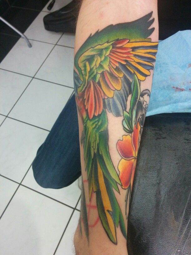 Angle 2 of parrots tattoo
