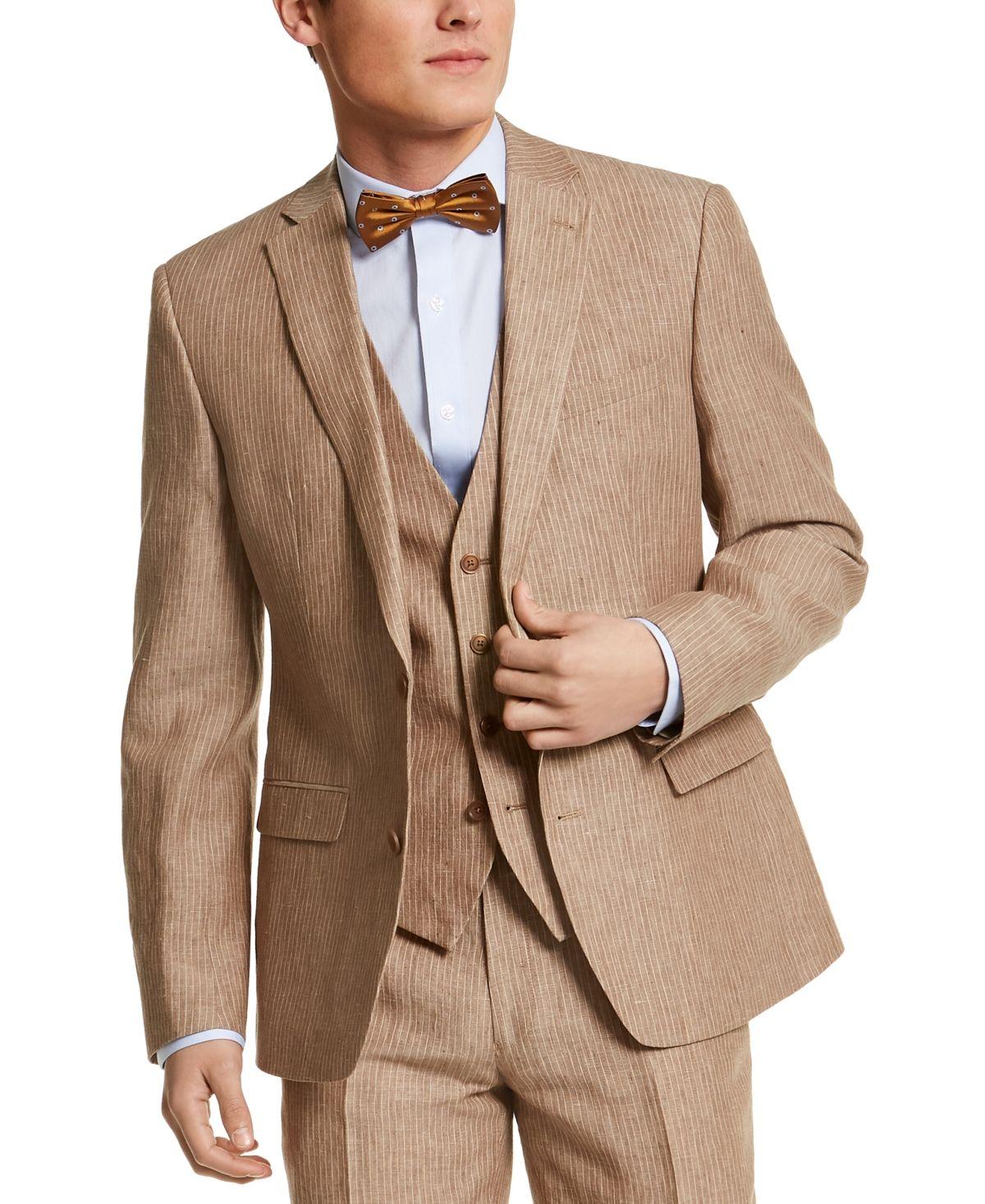 Bar iii mens slimfit tan pinstripe linen suit separate