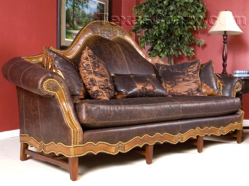 Old Hickory Tannery Boundary Trail Sofa Western Sofas and Loveseats - Tufted back rest and arms in aged dark brown leather accented with Watusi haiu2026 : western style sectional sofas - Sectionals, Sofas & Couches