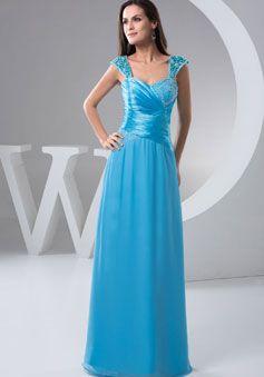 Sheath/Column Chiffon Straps Natural Waist Floor-Length Zipper Cap Sleeve Prom Dress
