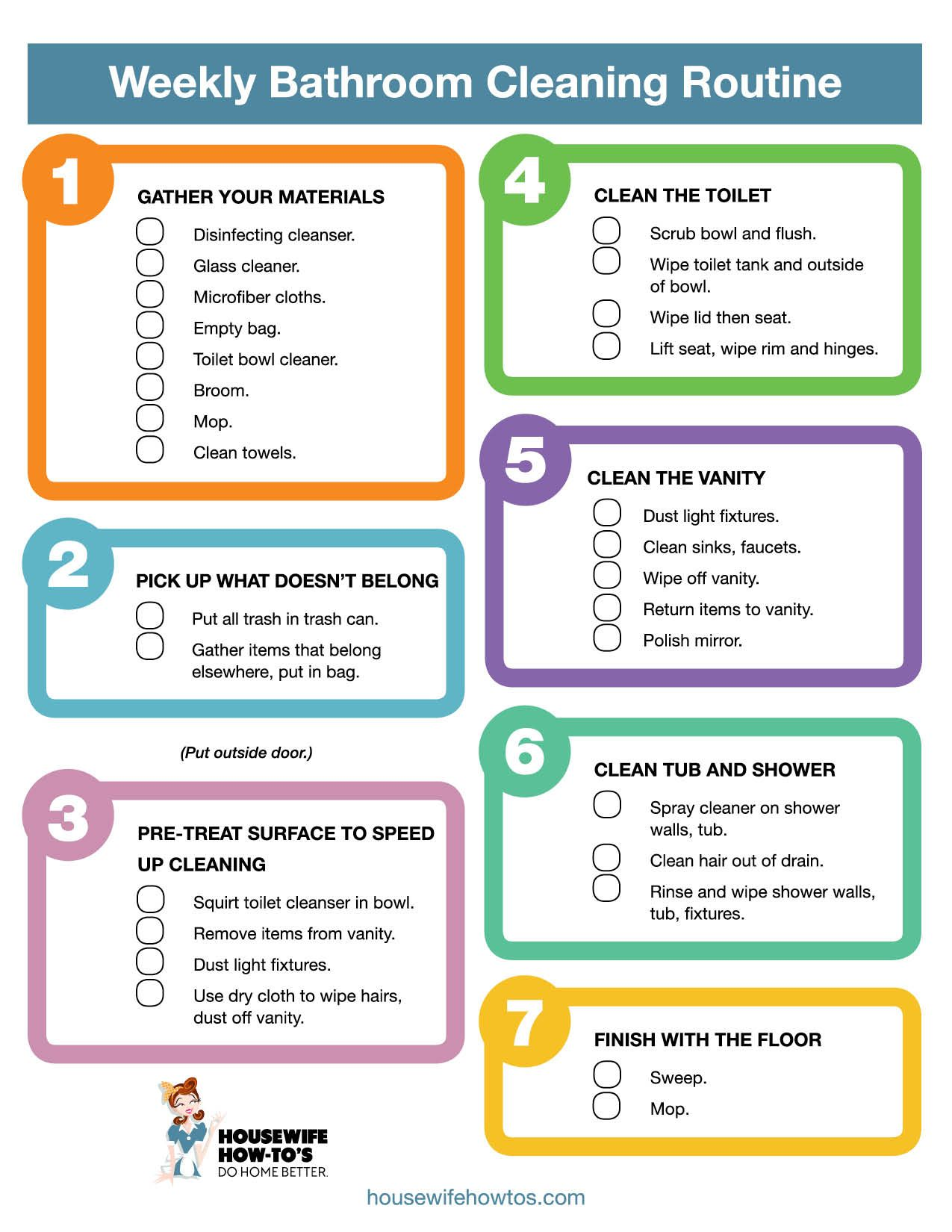 Free Printable Weekly Bathroom Cleaning Checklist