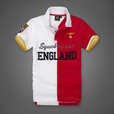 ralph lauren online outlet Aeronautica Militare England Half Split Short  Sleeve Polo Shirt White Red http