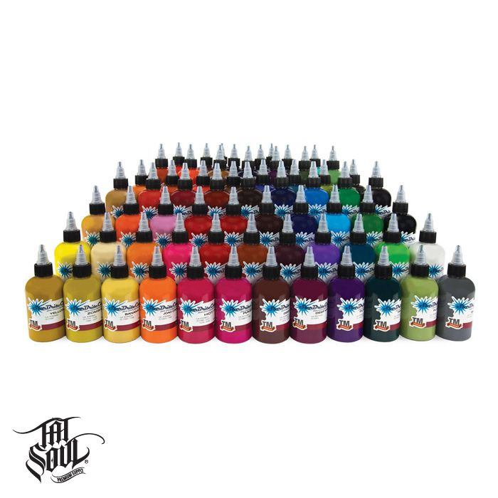 TATSoul Starbrite Ink - 1 oz. (75 Color Kit) [sb-75colorkit-1] - This color kit represents all of our colors from our full line of StarBrite™ inks. The thicker consistency dispersions should be thinned with water & glycerin 50 - 50. Ink should be kept in a cool & dry area. Includes: Baby Blue Banana Cream Battleship Gray Beer Gold Black Outliner Blush Brite Orange Brite White BubbleGum Pink Buckskin Tan Camouflage Green Canary Yellow Chocolate