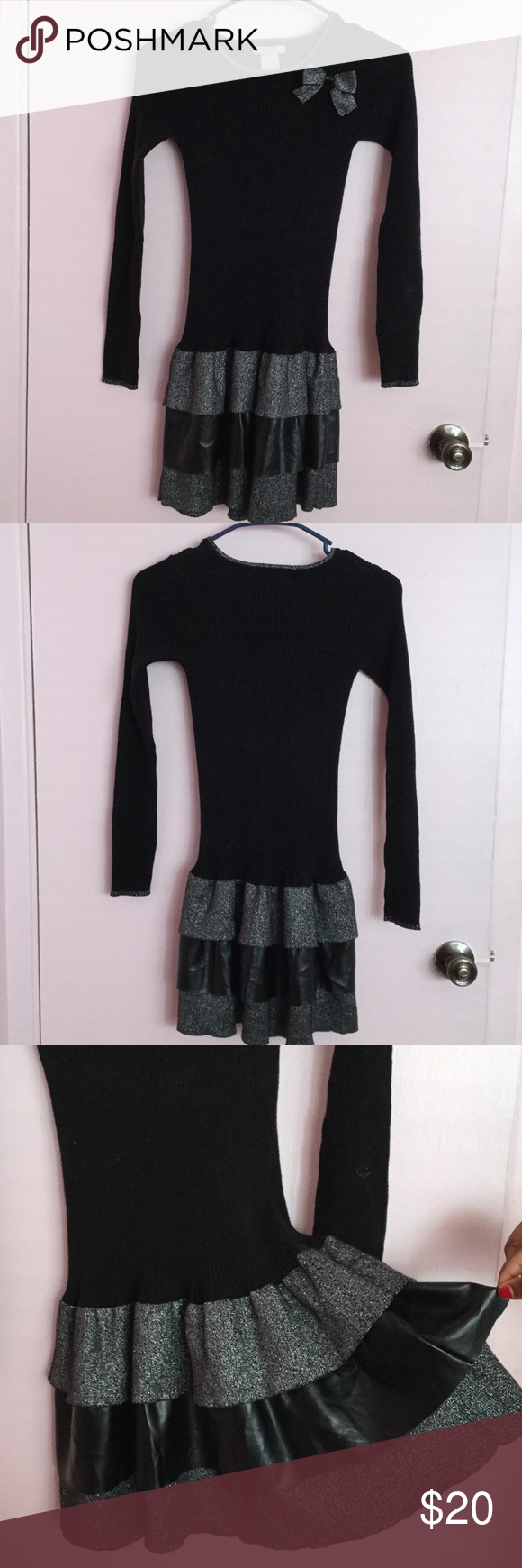 Black Knit Tier Dress Girls -Size 14 Black 3 Tier Girls Dress Size 14.  Three Tier has a second Tier with metallic-like Fabric.  Dress is ready for shipment.  I was in cold water and it's ready to wear. Dresses Formal