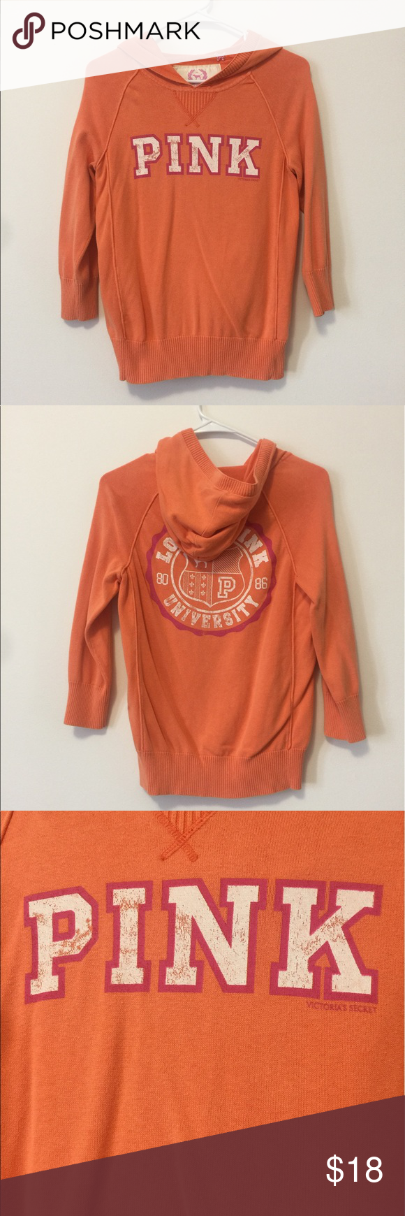 Victoria's Secret Pink 3/4 logo sweater | Orange color, Logos and ...