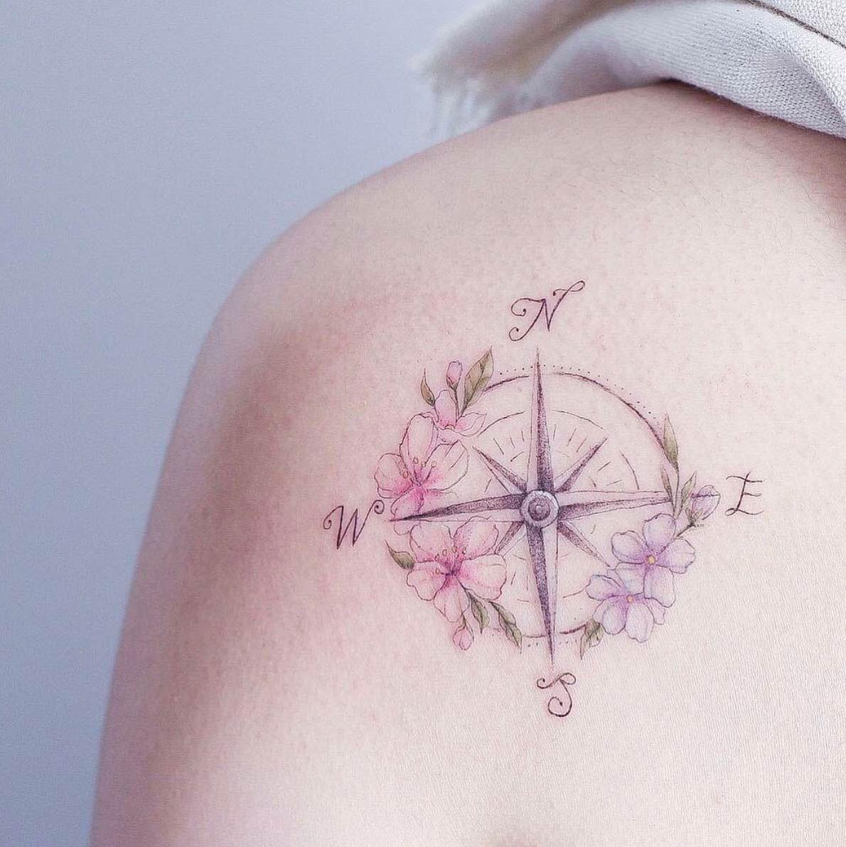 A Floral Compass By Mini Lau Feminine Compass Tattoo Compass Tattoo Simple Compass Tattoo