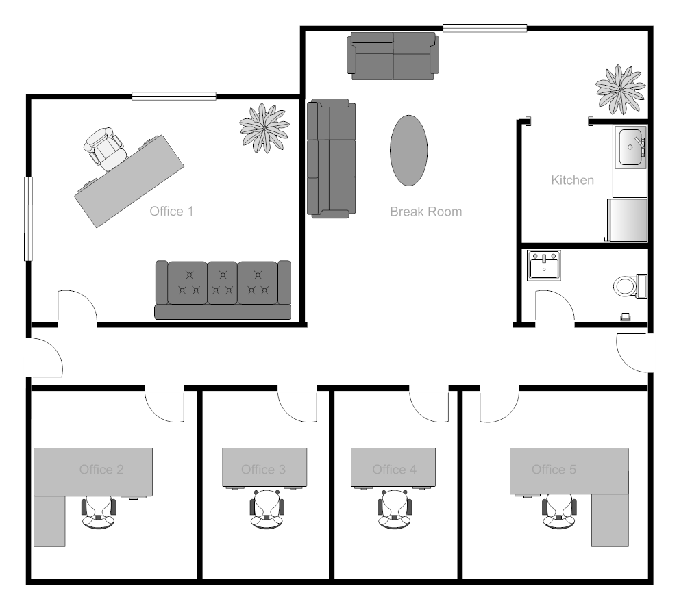 Example image office building floor plan office design for Office space floor plan creator