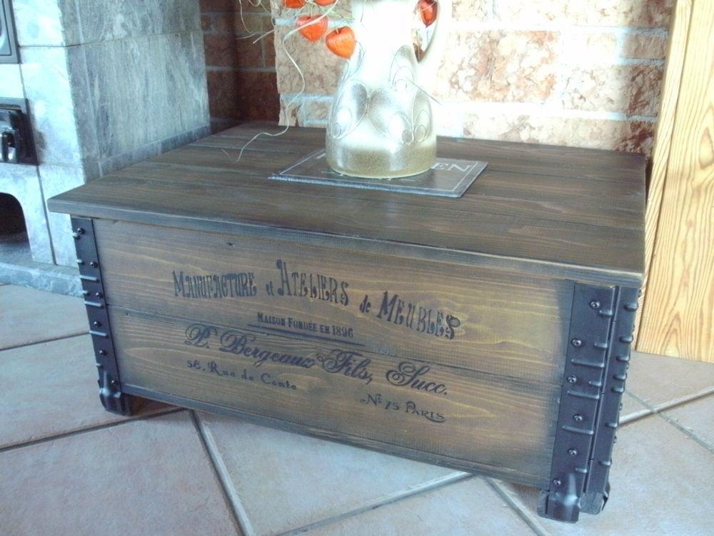Landhaus wohnzimmer ~ Alte frachtkiste couchtisch vintage holztruhe möbel tisch shabby
