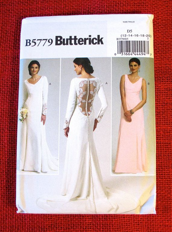 Butterick Sewing Pattern B5779 Wedding Gown, Dress, Train, Lace ...