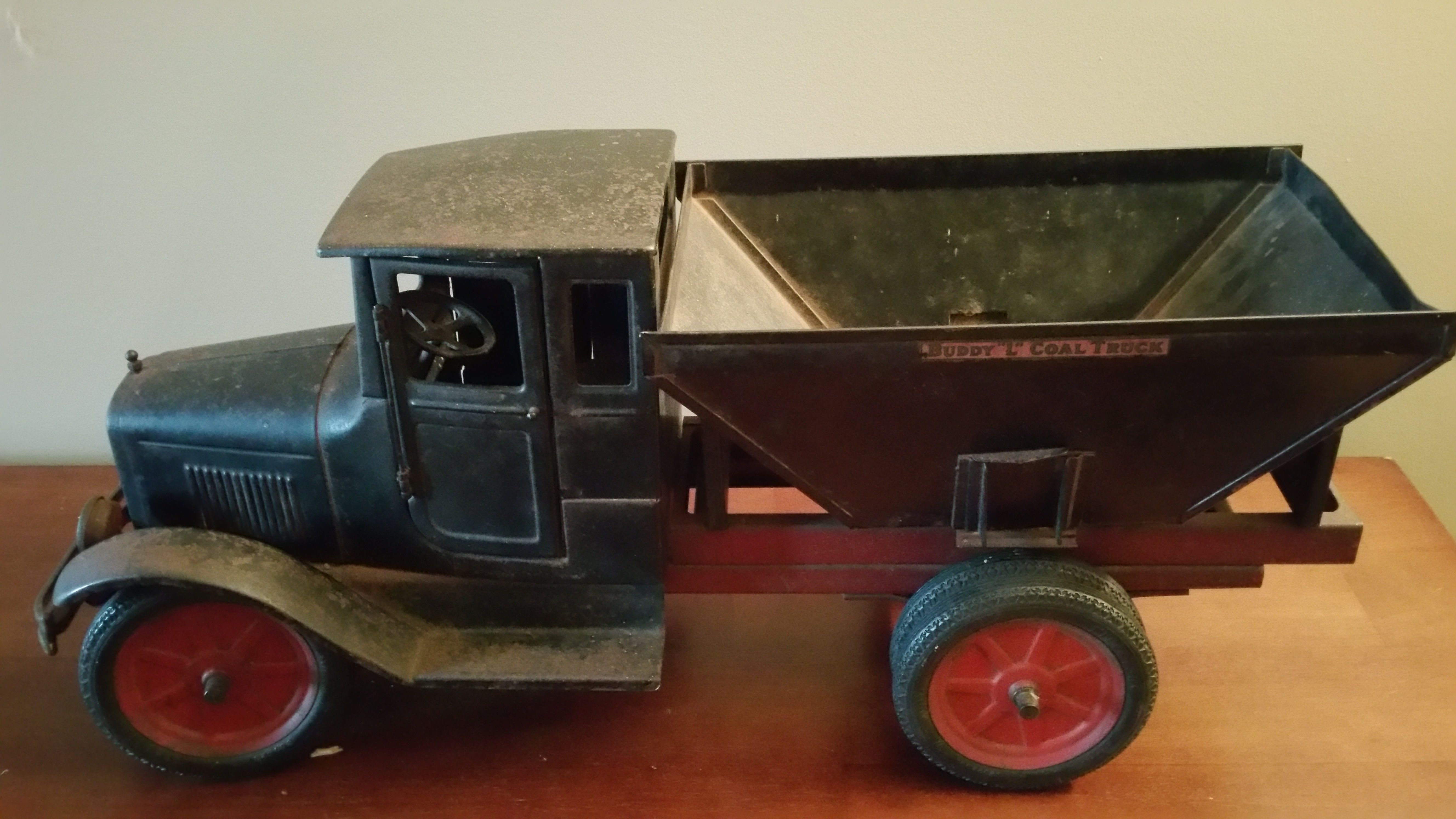 rare buddy l pressed steel coal truck with headlights opening