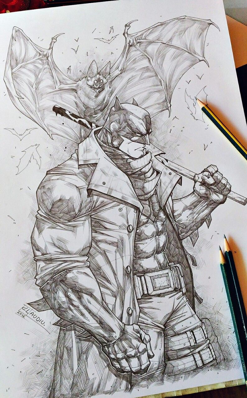 The worlds greatest limbasan san the dark knight pencil drawing